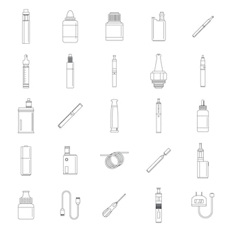Electronic cigarette mood icons set
