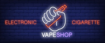 Electronic cigarette neon sign. Hand holding vape device.