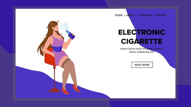 Electronic cigarette smoking young woman vector. attractive girl sitting on chair and smoke electronic cigarette device. character hipster vaping e-cigarette gadget web flat cartoon illustration