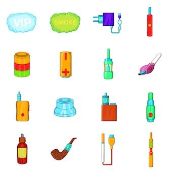 Electronic cigarettes icons set