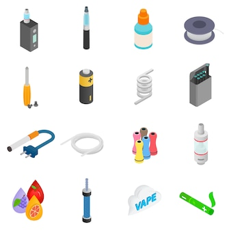 Electronic cigarettes isometric 3d icons set