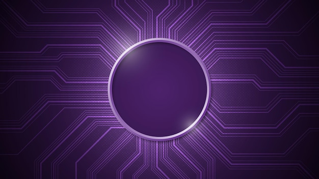 Electronic circuit design that leaves the center blank circled on a dark purple background.