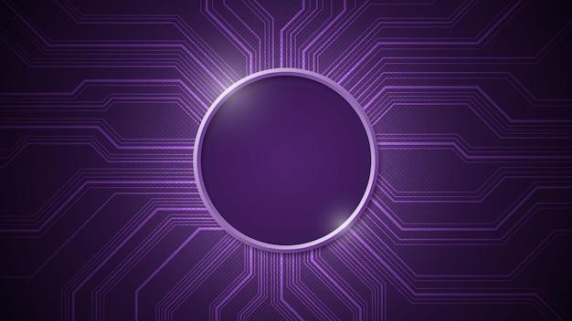 짙은 자주색 배경에 중앙을 공백으로 두는 전자 회로 설계.