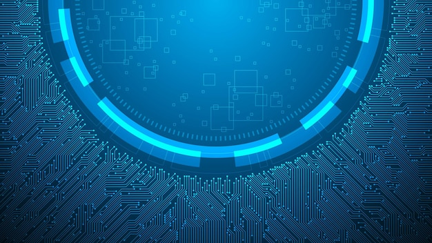 Electronic circuit design with central integration on a dark blue background.