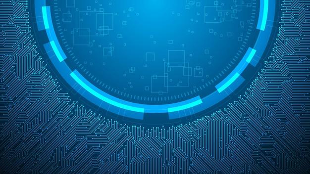 진한 파란색 배경에 중앙 통합이 있는 전자 회로 설계.