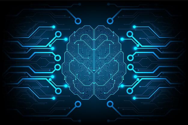 뇌 형태의 전자 회로.