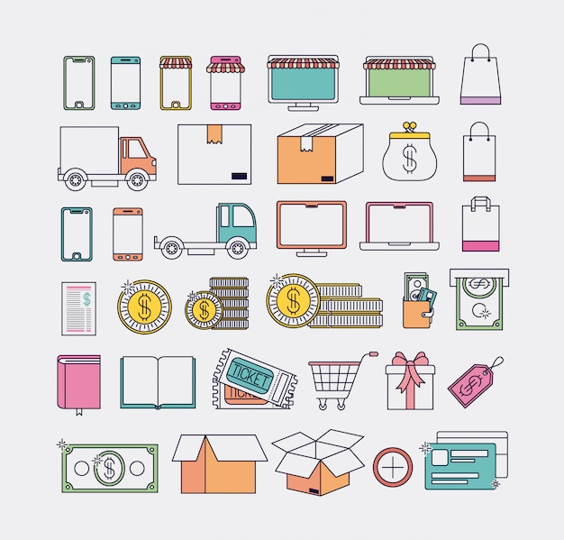 Electronic commerce set icons vector illustration design