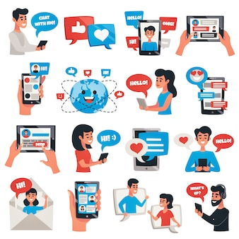 Electronic communication devices elements and characters set