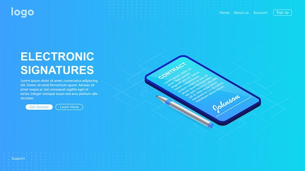 Electronic contract or digital signature concept signing an electronic contract online by phone