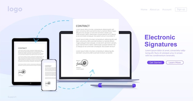 Electronic contract or digital signature concept in vector illustration signing an electronic