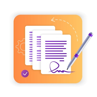 Electronic contract or digital signature signing an electronic contract online flat icon website