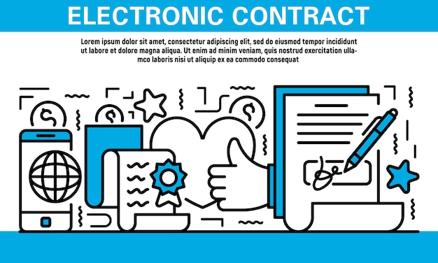 Electronic contract icon set in outline style