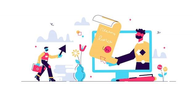 Иллюстрация электронного контракта. крошечные люди концепции цифровой подписи. абстрактный онлайн соглашение знак визуализации. современная бизнес-система с безопасным дистанционным переводом документов сделки.