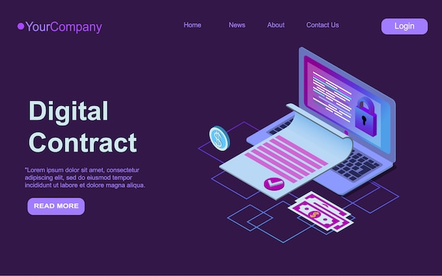 Electronic contract isometric web banner, e-signature on document at laptop screen digital signing service secured internet technology, 3d landing page