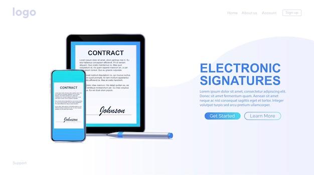 電子契約またはデジタル署名の概念電話でオンラインで電子契約に署名する