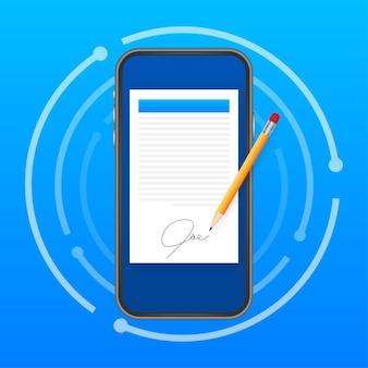 Электронный контракт или концепция цифровой подписи. векторная иллюстрация штока.
