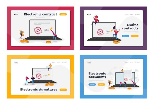 Набор шаблонов целевой страницы электронного контракта или цифровой подписи