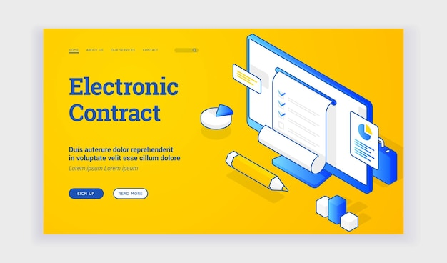 Electronic contract. vector illustration of computer monitor with electronic legal contract for business near description and link button on web banner. isometric web banner, landing page template