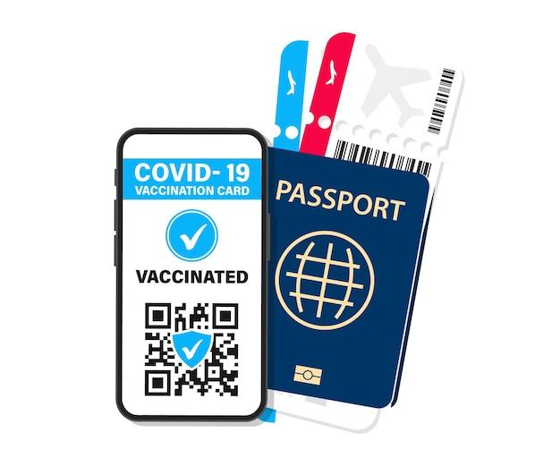 Электронный паспорт иммунитета от covid-19. цифровой сертификат вакцины с qr-кодом. вакцинированный человек использует qr-код на мобильном телефоне для безопасного путешествия во время пандемии. авиабилеты, посадочный талон