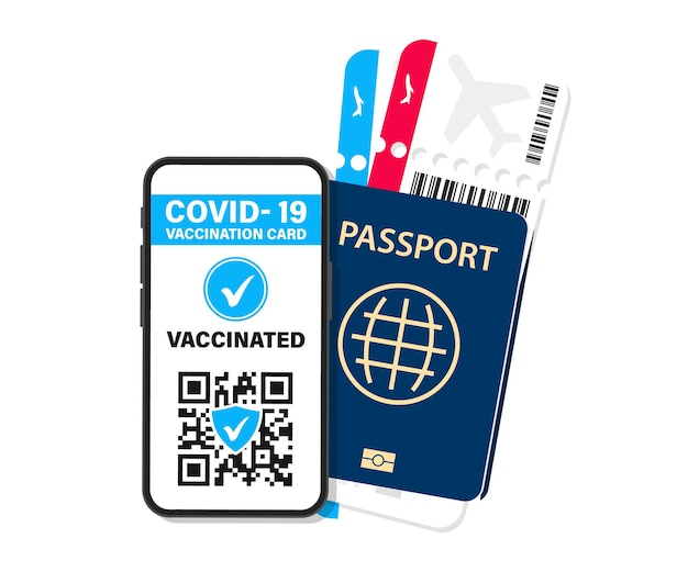 Electronic covid-19 immunity passport. digital vaccine certificate with qr code. the vaccinated person using qr code on mobile phone for safe travelling during the pandemic. air tickets, boarding pass