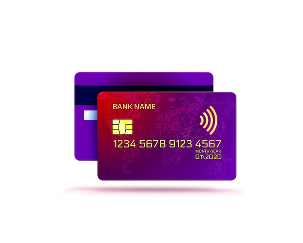Electronic credit card icon, finance technology, isolated on white.