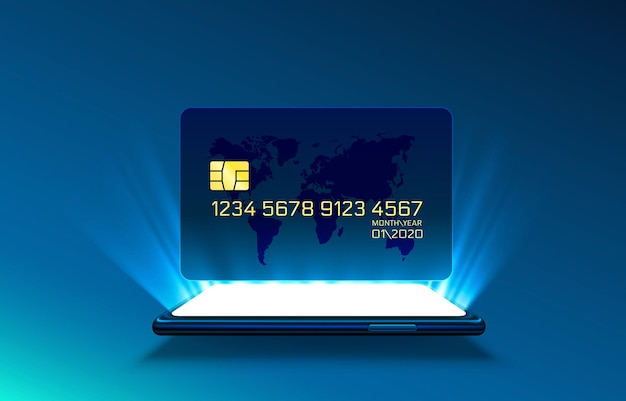 Electronic credit card and phone, finance technology, isolated on blue.