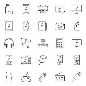Electronic device icon pack, with outline icon style