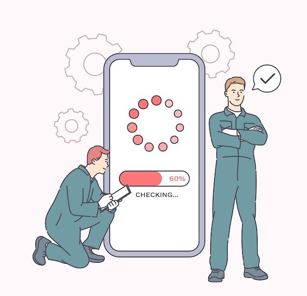Ремонт электронных устройств, обслуживание телефонов. рабочие ремонтируют смартфон в сервисе гаджетов. устранение неисправностей и обслуживание мобильного телефона путем ремонта.