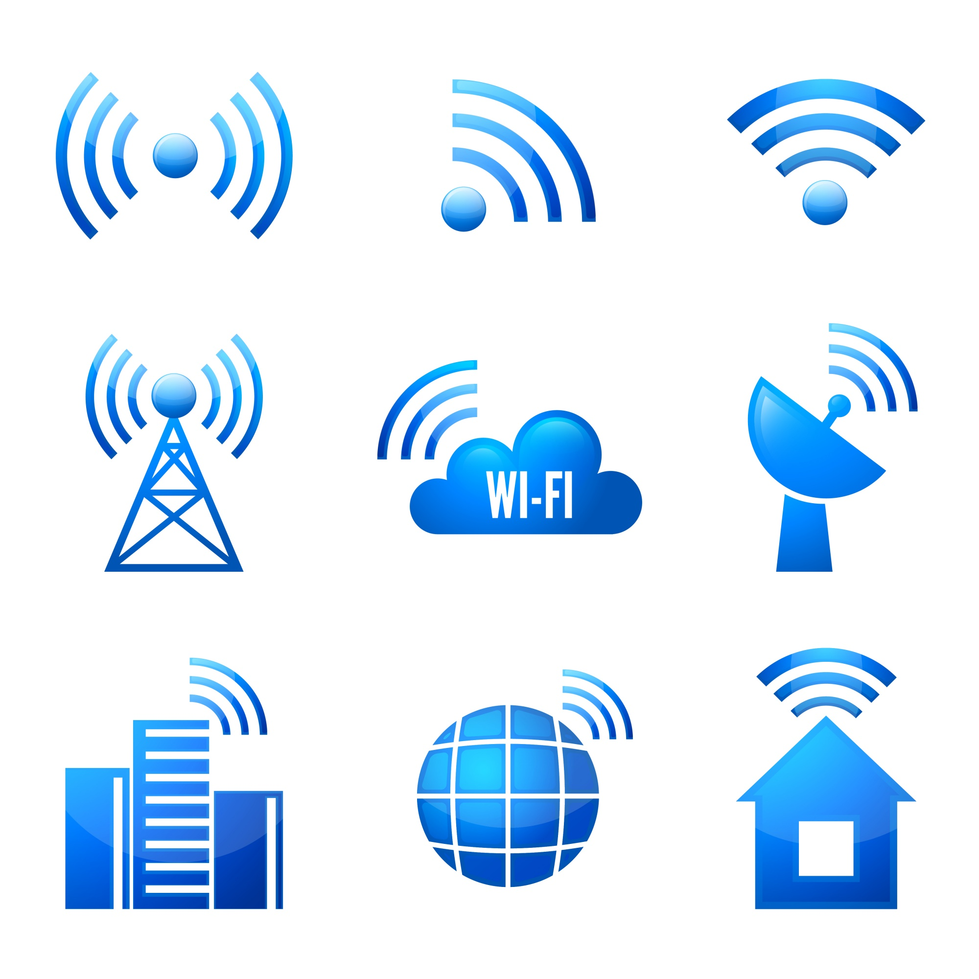 Electronic device wireless internet connection WiFi symbols glossy icons or stickers set isolated vector illustration