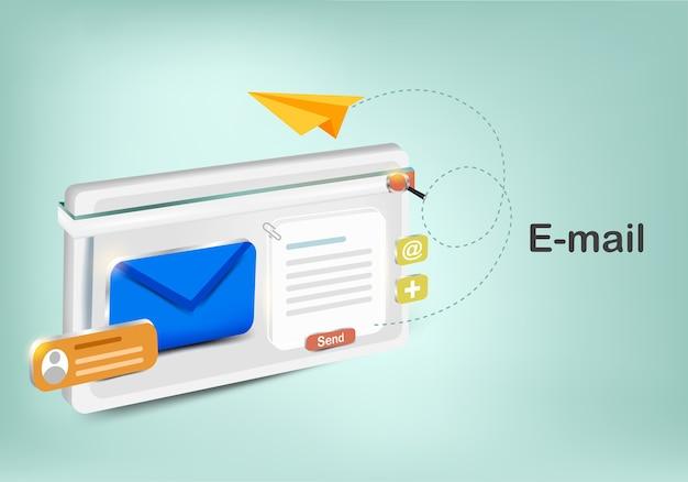 電子メールの検索ボタン付きの電子機器