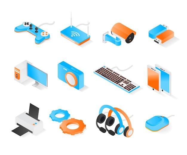 아이소메트릭 스타일 프리미엄 현대 벡터 개념의 전자 장치 및 하드웨어 아이콘