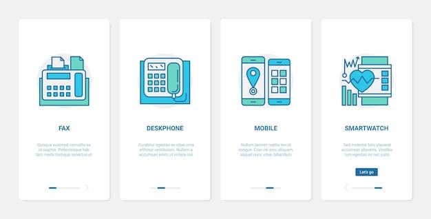 Электронные устройства для связи ux ui onboarding набор экранов страницы мобильного приложения.