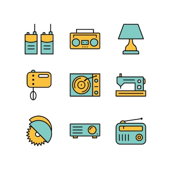 Electronic devices icons isolated on white