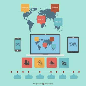 세계지도와 전자 기기 infographic