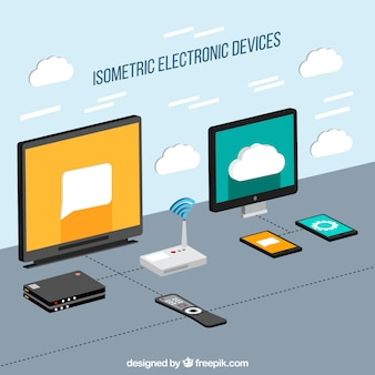Electronic devices in isometric style