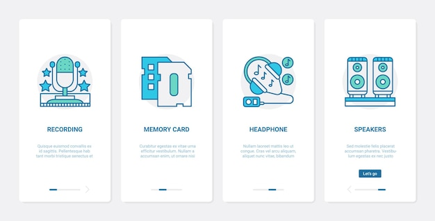 Electronic devices for playing recording music sound ux ui mobile app page screen set