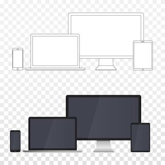 白い背景で隔離の電子デバイス画面。透明性のあるデスクトップコンピュータ、ラップトップ、タブレット、携帯電話。