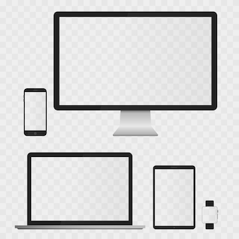 Electronic devices screens isolated on white background