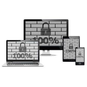 Electronic devices security concept isolated on white