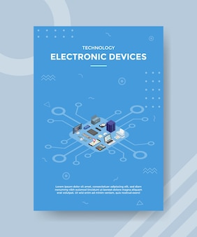 Electronic devices set collection concept for template banner and flyer with isometric style Premium Vector