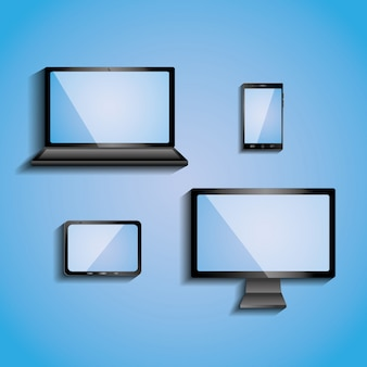 Electronic devices with blank screens computer monitor smartphone tablet and laptop