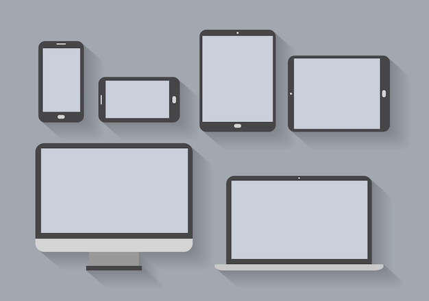 Electronic devices with blank screens. smartphones, tablets, computer monitor, netbook.