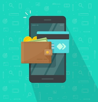 Electronic or digital wallet on mobile phone icon flat cartoon design