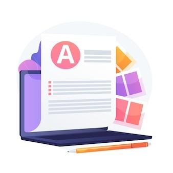 電子文書。電子ペーパー、ペーパーレスオフィス、インターネット記事。オンラインドキュメント組織。コンピューターでテキストファイルを入力します。ベクトル分離概念比喩イラスト