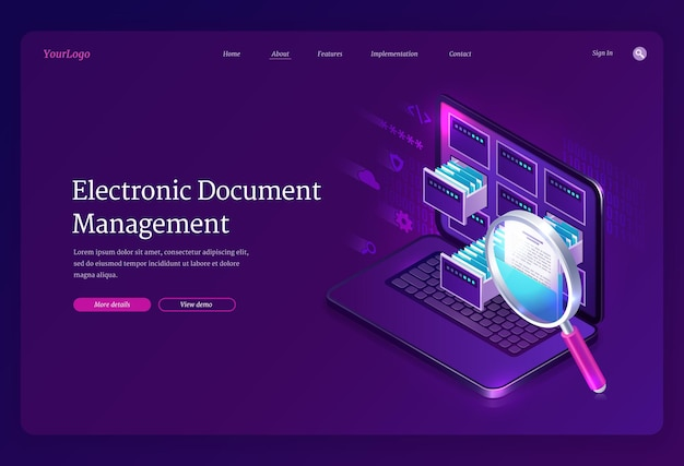 Electronic document management landing page