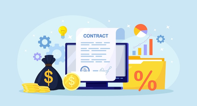 Electronic document signature, contract page on computer screen. signing of formal agreement, stack of coin, money, graph, folder with documents on background. online conclusion of the transaction
