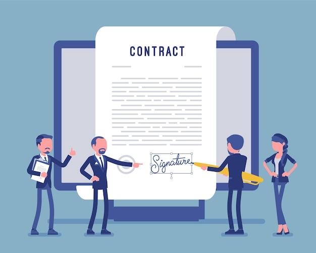Электронная подпись документа, страница договора на экране. деловые люди подписывают официальную бумагу, формальное соглашение, бизнесмен с гигантским пером пишет имя. векторная иллюстрация, безликие персонажи