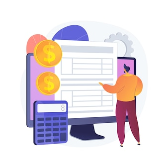 Electronic documentation. man with registration. checking repository log. online approval, screen form, validation page. expense chronicles. vector isolated concept metaphor illustration.
