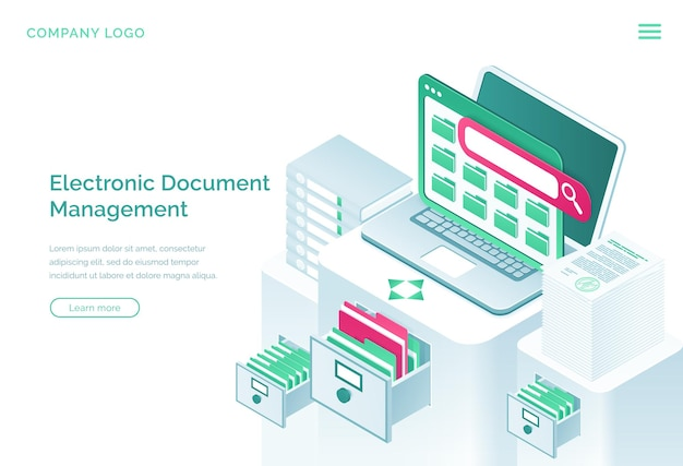 Electronic documents management isometric landing page