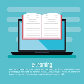Electronic education with laptop vector illustration design